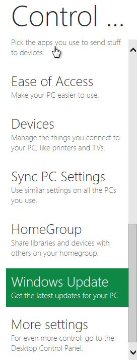 Windows 8 Control Panel more settings