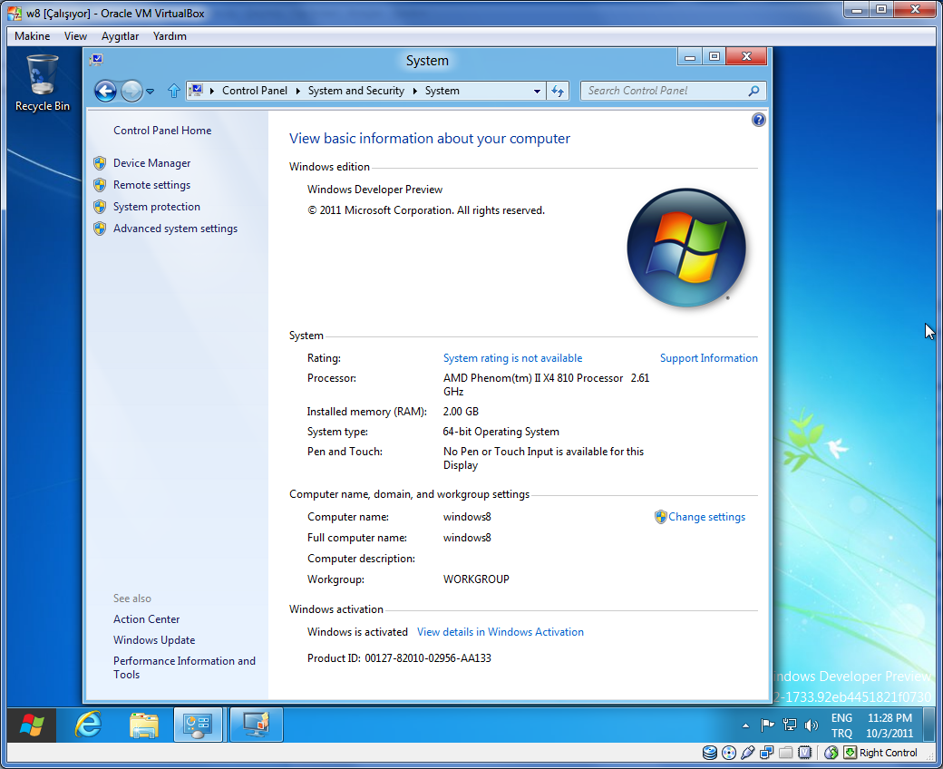 use Control Panel to activate Windows 8